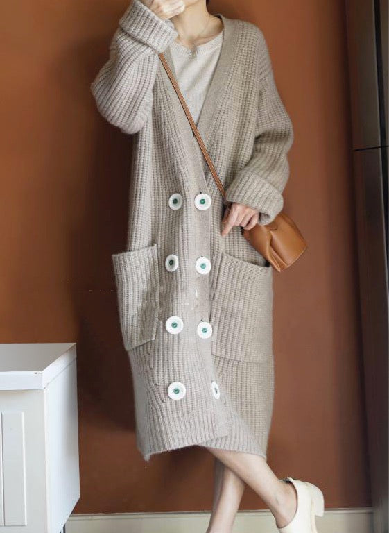 Women's Maxi Cardigan Long Draped Knitted Warm Cashmere Coat Sweater