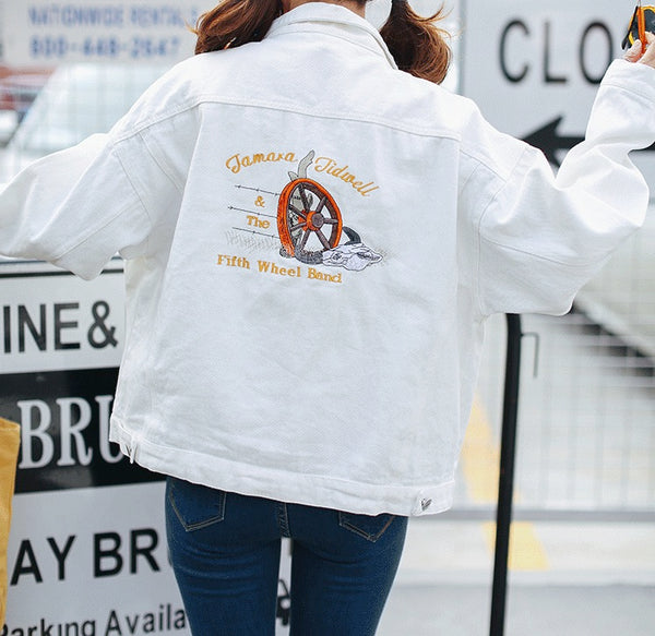 Women Oversize Vintage White Denim Jacket Long Sleeve Classic Coat