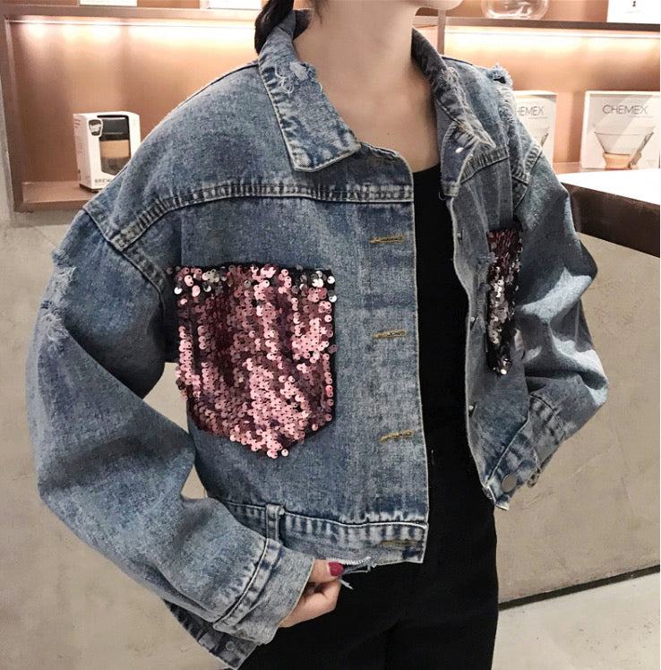 Women Shining Pink Red Sequin Embroidered Jean Denim Jacket Long Sleeve Coat