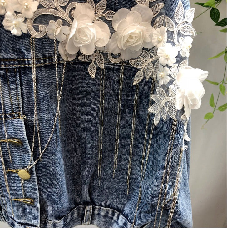 Women Jean Denim Jacket Shining Silver Sequin Embroidered Pearl Beads Decorated Flower Coat