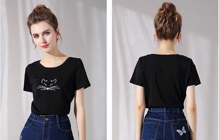 Women/Teenage Girl Short Sleeve Cat Face Top Tees T-shirt