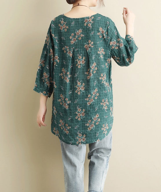 Women's Pullover Shirts Long Sleeve Cotton/Linen Flower Blouse Casual Tops