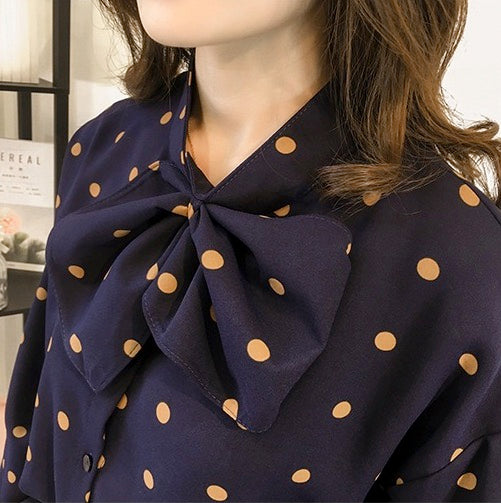 Women Casual Blouse Long Sleeve Button Down Shirt Tops With Bow