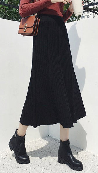 Women Reversible Stretchy Waist Knitted Casual Swing Pleated Midi Skirt
