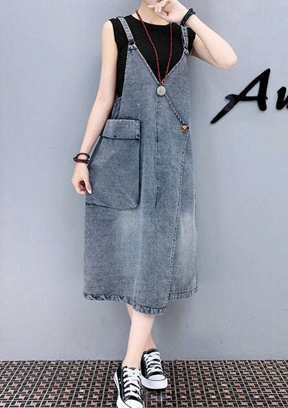 Women Teenage Girl Casual Strap Denim Overall Adjustable Dress with Pocket