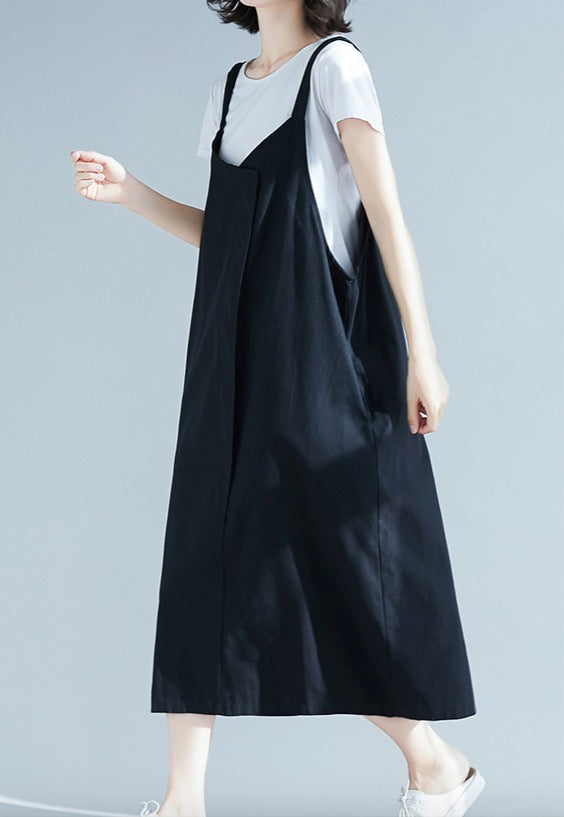 Women's Cotton Linen Maxi Dress Loose Sleeveless with Pockets