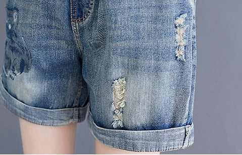 Women Cat Denim Shorts Mid Rise Jean Shorts Hem Comfy Pull-on with Elastic Waist