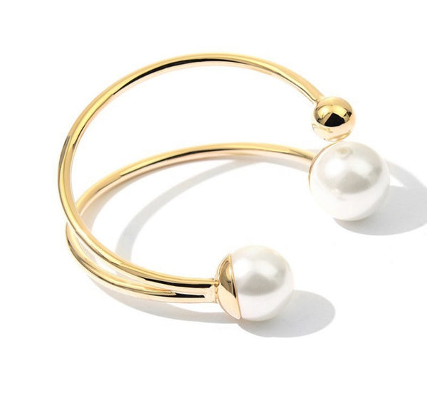 Women Open Cuff Bracelets Pearl Bangles Fashion Jewelry