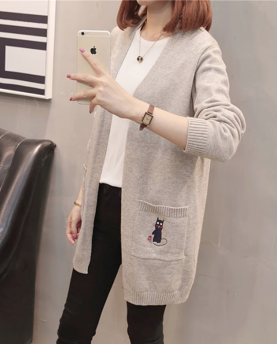 Women's Casual Long Sleeve Open Front Long Cardigan Sweater With Pockets Top