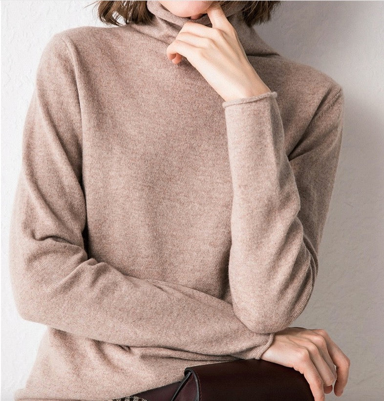 Women's Knit Lightweight Turtleneck Classic Pullover Long Sleeve Cashmere Sweater Tops