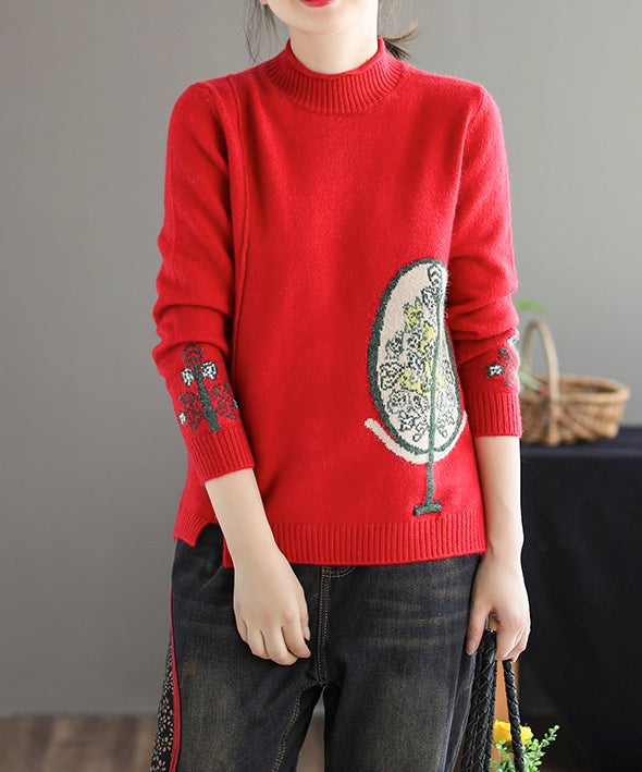 Women Long Sleeve Pullovers Knitted Sweaters Handcrafted Flower Tops