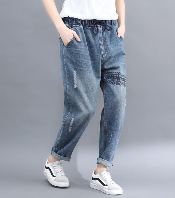 Women Loose Pants Jogger Denim Jeans