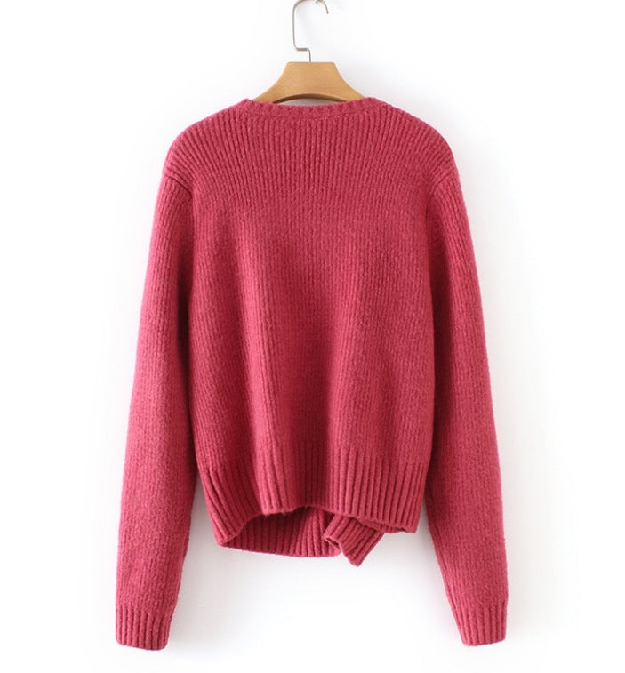 Women Long Sleeve Pullovers Knitted Sweaters Button Down Tops Cardigan