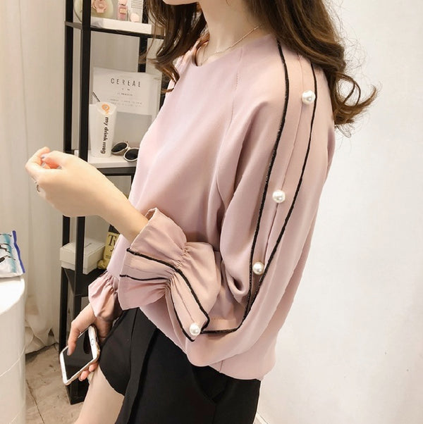 Women Long-Sleeve Top Shirt Blouse