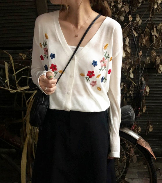 Women's Knit Button Down Cardigans Long Sleeve Cotton Sweaters Handcrafted Flower Tops