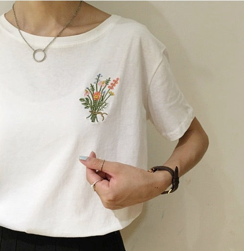 Women Summer Casual Short Sleeve Cotton Top Tees Handmade Flower T-shirt