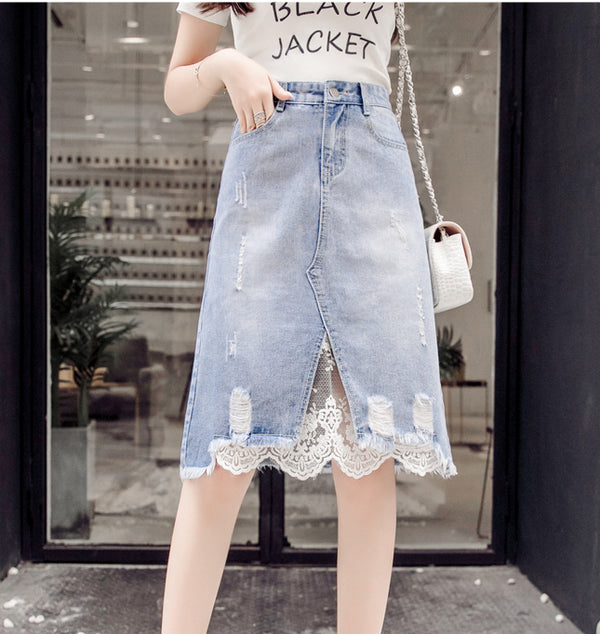 Women's Denim Light Wash Jean Lace Skirt