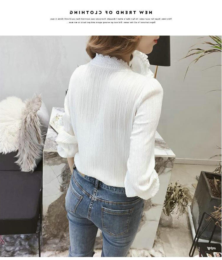 Women Long-Sleeve Lace V-neck White Top Shirt