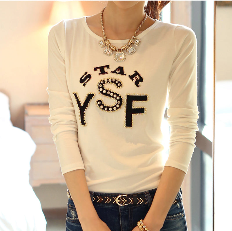 Women's Long Sleeve Tees Cotton T-Shirt Tops