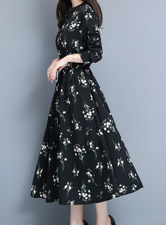 Women's Long Sleeve Floral Swing Maxi Dress
