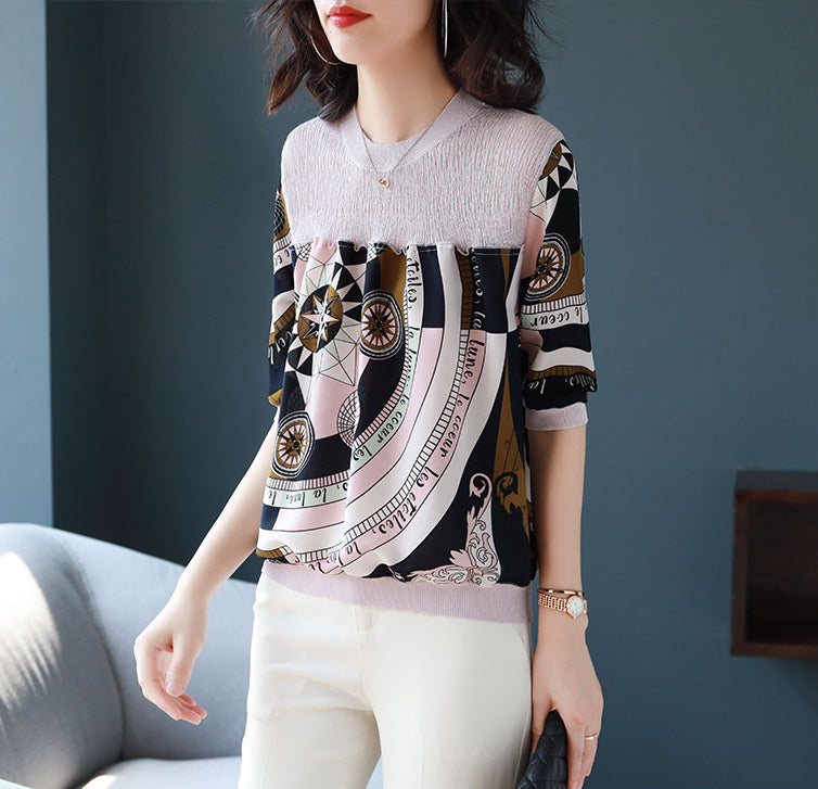 Women's 1/2 Sleeve Shirt Regular-Fit Blouse Top