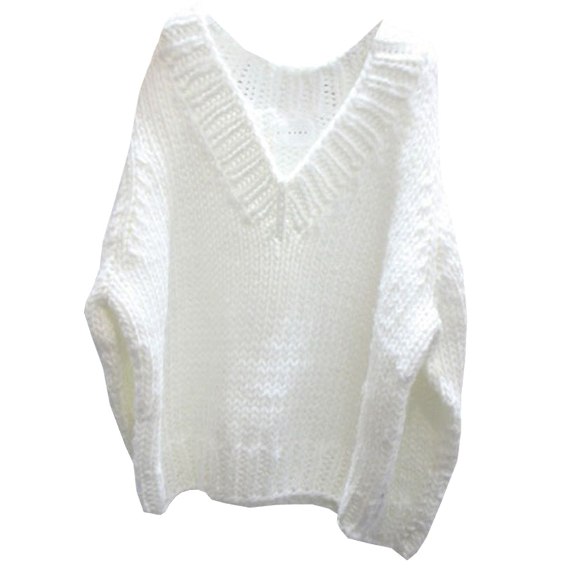 Women's Long Sleeve Knitted Casual V-Nest Pullover Sweater Jumper Tops