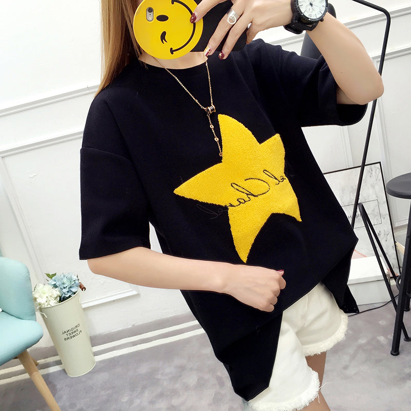 Women's Tops Solid Color Round Neck Tees Casual Short Sleeve Star T-Shirts Blouse Tops