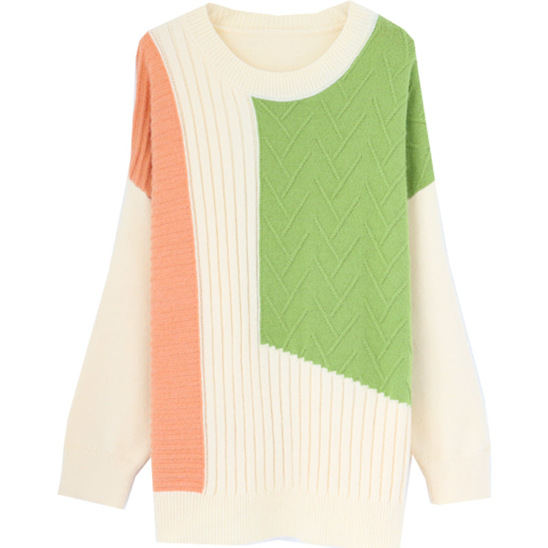 Women's Casual Crew Neck Sweater Long Sleeve Soft Pullover Knit Jumper Tops