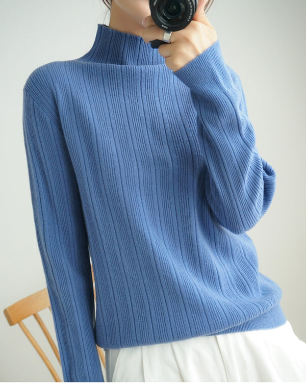 Women Turtleneck Knit Stretchable Elasticity Long Sleeve Slim Cashmere Sweater