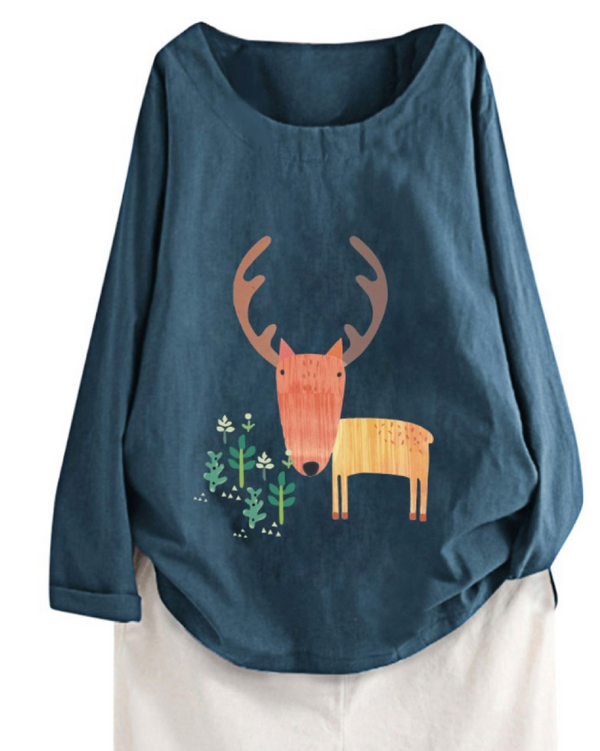 Women's Cotton Long Sleeve Blouse Round Neck Deer Design Top Clothing
