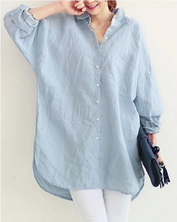 Women's Button Down Shirts Long Sleeve Cotton Blouse Casual Tops Summer Clothing