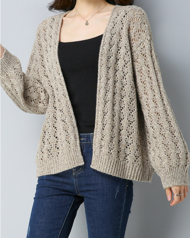 Women's Casual Open Front Lightweight Long Sleeve Wool Blend Cardigan Winter/Fall Sweater