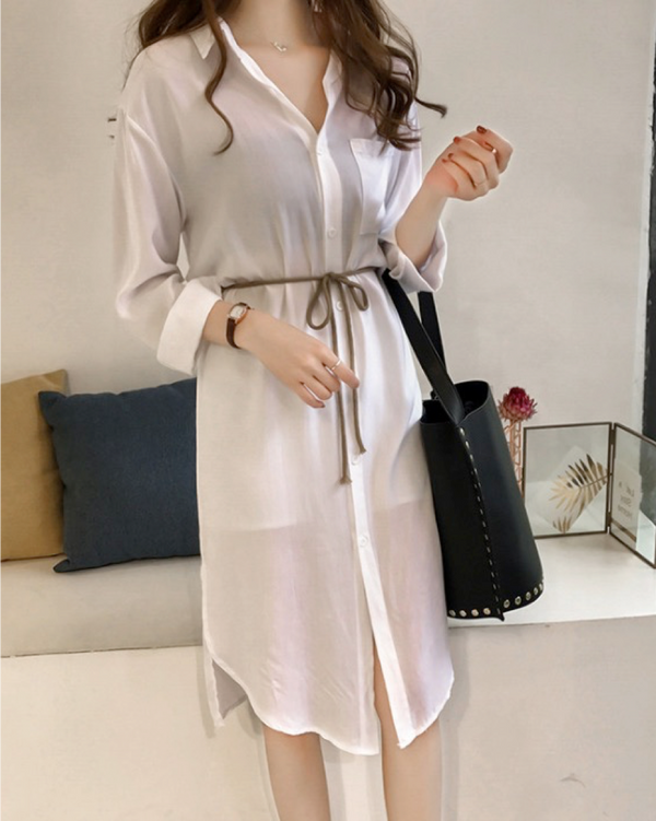 Women's Long Sleeve Shirt Dress with Belt Casual Loose Tops