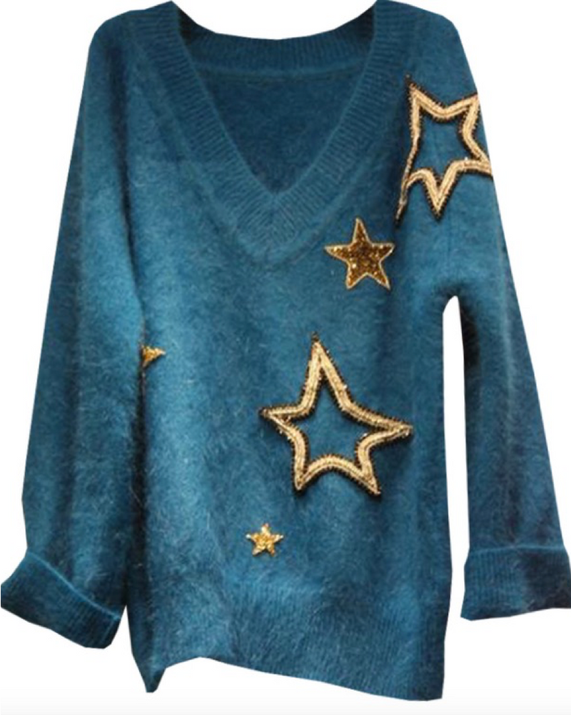 Women Long Sleeve V-Neck Pullovers Fashion Handmade Star Design Sweater