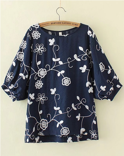 Women's Pullover Shirts 1/2 Long Sleeve Cotton/Linen Flower Blouse Casual Tops