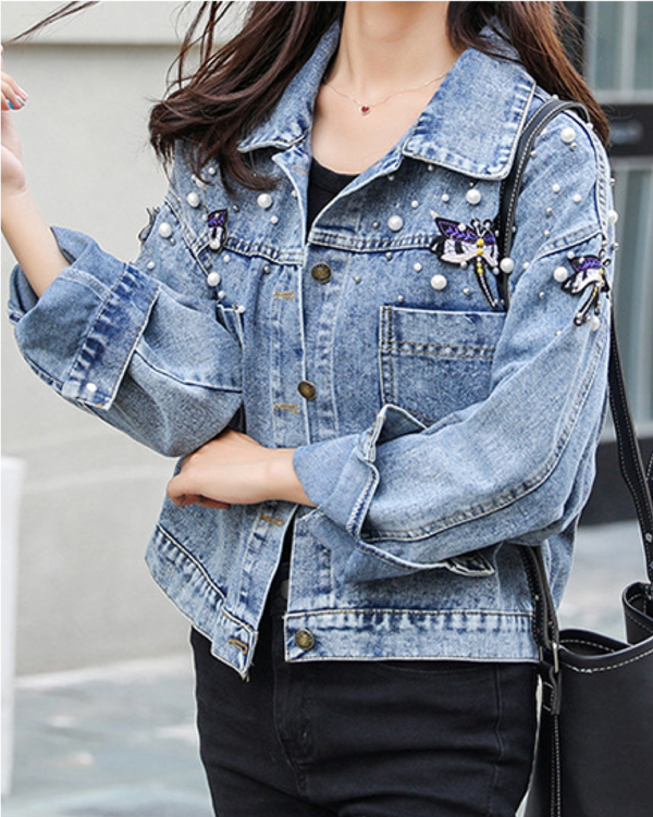 Loose Women's Denim Jackets Blue Long Sleeve Jean Coat with Pearl Decoration Top Clothing