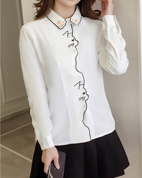 Women's/Teenager Long Sleeve Button-Down Shirt Cotton Cat Design Blouse