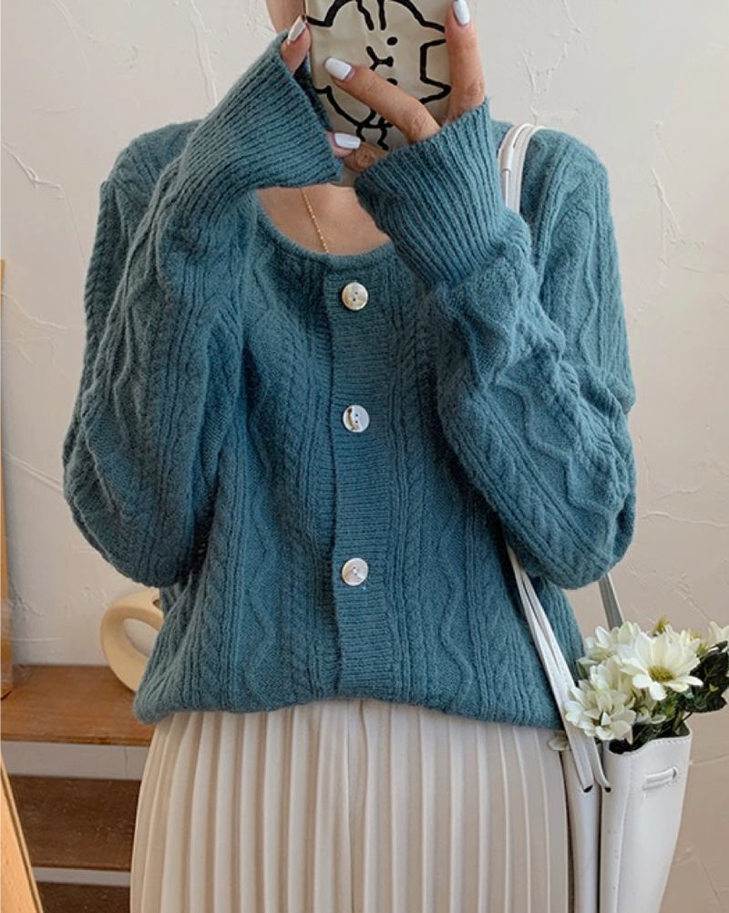 Women's Warm Button-Down Cardigan Knitted Sweater Top