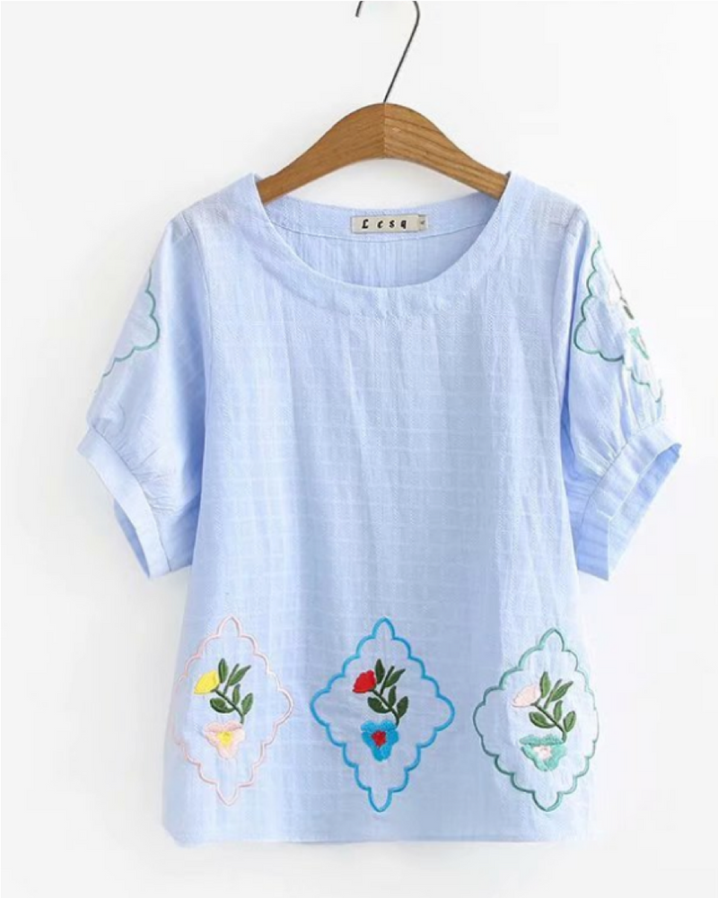 Women's Pullover Shirts Short Sleeve Cotton/Linen Flower Blouse Casual Tops Summer Clothing