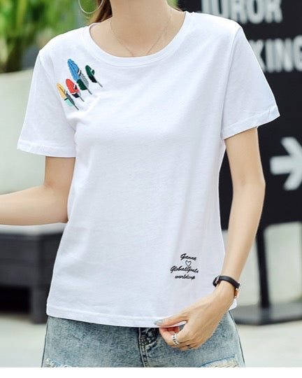 Women Fashion Design Round Neck Tees White Short Sleeve Cotton T-Shirt