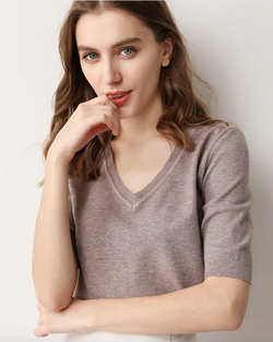 Women's V Neck Cashmere Blend Knitted Sweater Blouse Short Sleeve Top Summer/Spring/Fall Clothing