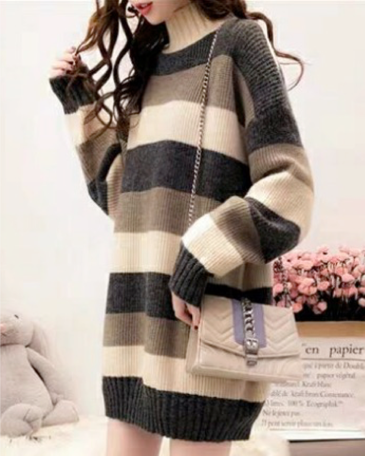 Women Long Sleeve Pullovers Fashion Striped Knitted Sweaters Tops