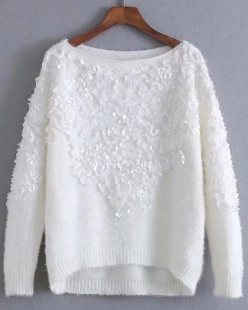 Women's Comfy-Casual Crewneck Sweater with Handcrafted Flower