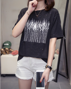 Women Short Sleeve Cotton Top Tees Casual Loose T-shirt