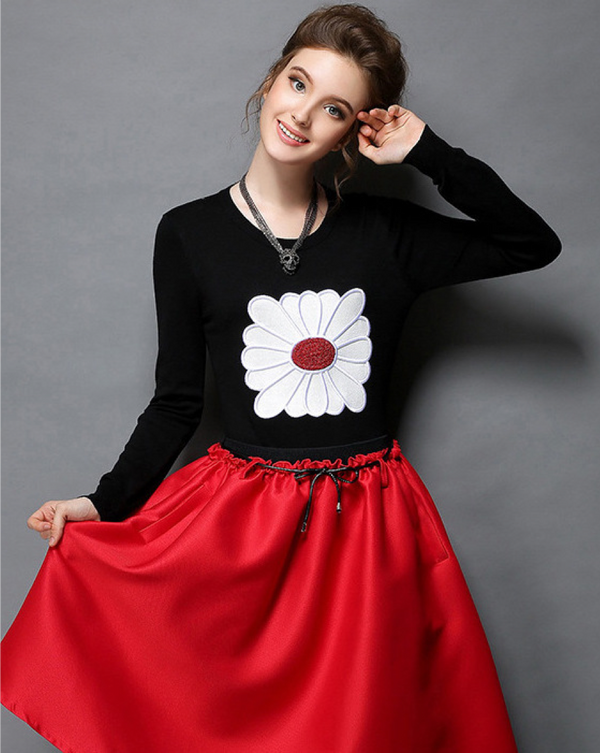 Women/Teenage Girl Long Sleeve Handmade Flower Cotton Top Tees T-shirt