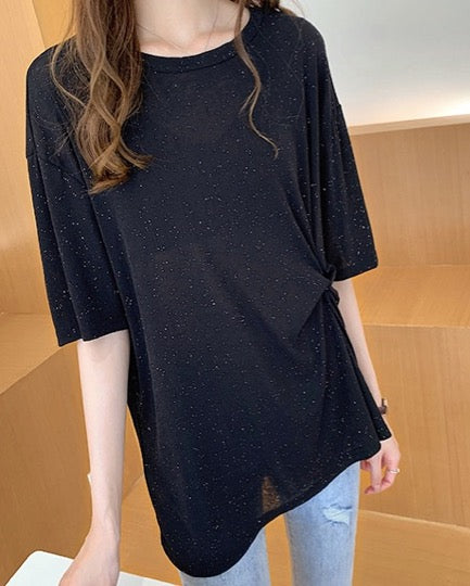 Women Knotted Design Tunic Thin Cool Summer Top Blouse