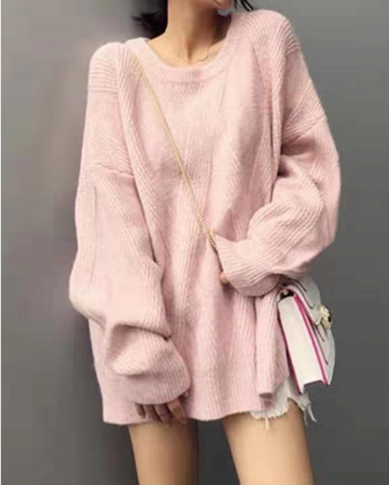 Women's Casual Crew Neck Loose Fit Sweater Long Sleeve Soft Pullover Knit Jumper Tops