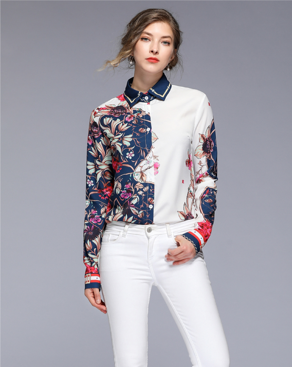 Women's Regular Fit Long Sleeve Blouse Floral Shirt