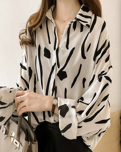Women White and Black Button-down Long-Sleeve Top Shirt Blouse