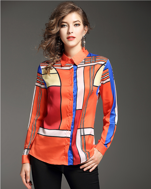 Women's Regular Fit Long Sleeve Blouse Shirt